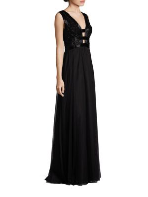 Sleeveless Top Cutout Gown