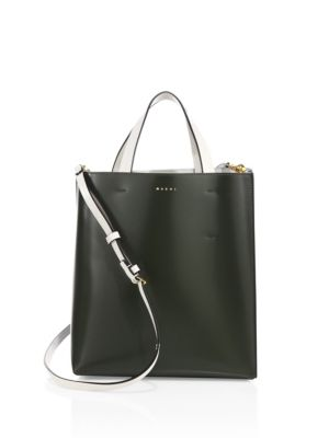 Two-Tone Leather Shopping Bag