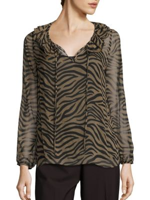 Antonia Silk Tiger-Print Blouse