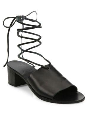 Christina Vachetta Leather Ankle-Wrap Sandals