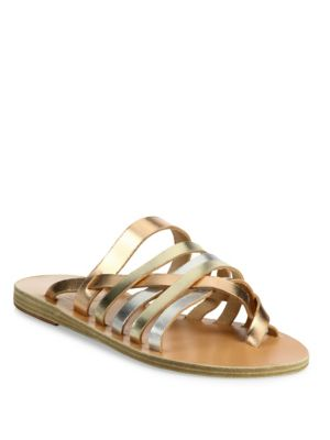 Gaia Metallic Vachetta Leather Slide Sandals