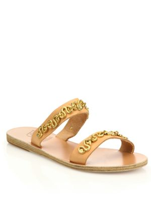 Poulia Vachetta Leather Slides