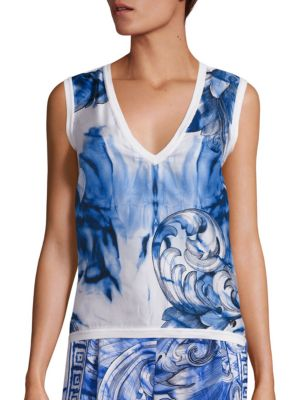 Printed Silk & Cotton V-Neck Shell