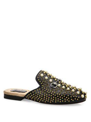 Princetown Studded Leather Loafer Slides