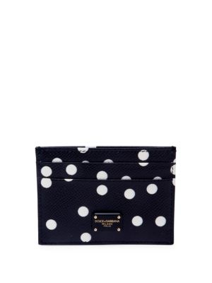 Polka-Dot Leather Card Case