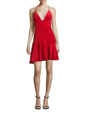 Velvet Ruffle Hem Dress