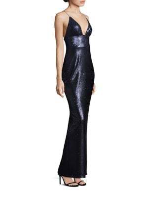Sequin Deep V-Neck Gown
