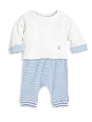 Baby's Two-Piece Cotton Top & Striped Jogger Pants Set