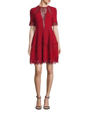 Crepe Lace Inset Mini Dress