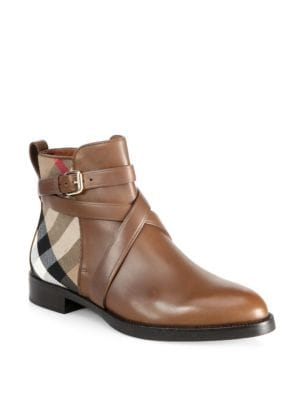 Vaughn Leather & House Check Booties