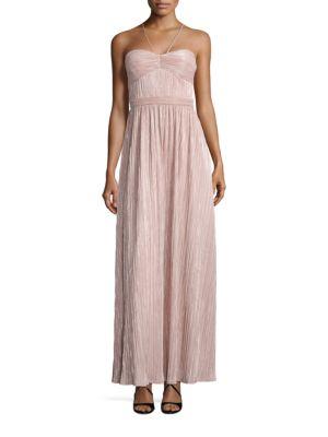 Metallic Pleated Halter Gown