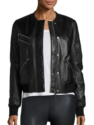 Gigi Leather Puffer Bomber Jacket by Generation Love