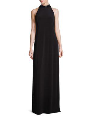 Embellished Jersey Halter Gown