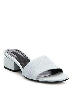 9e658c6364c Alexander Wang Lou Tilt-Heel Denim Slides from Saks Fifth Avenue ...