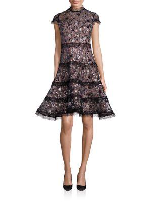 Peonie Sequin Floral Lace Dress