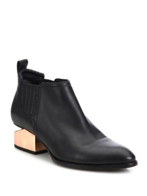 Kori Metal Tilt Heel Leather Booties by Alexander Wang