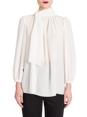Tie-Neck Crepe de Chine Blouse by Dolce & Gabbana