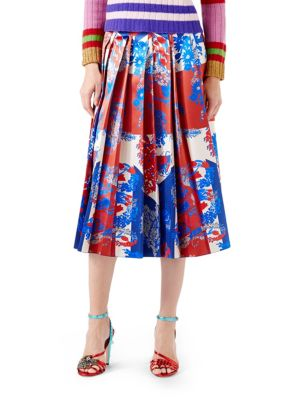 Union Jack Corsage Silk Skirt