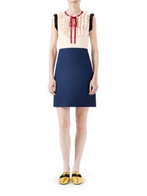 Silk Wool Contrast Dress