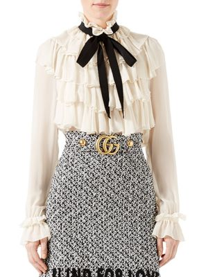 GUCCI Ruffled Silk Georgette Shirt With Bow, Ivory