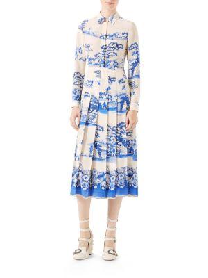 Porcelain Print Silk Dress