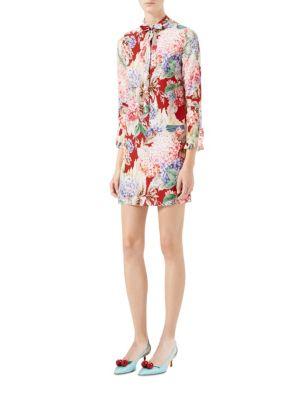gucci female 436005 hydrangea print silk dress