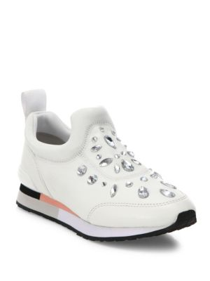Laney Crystal-Embellished Leather Sneakers