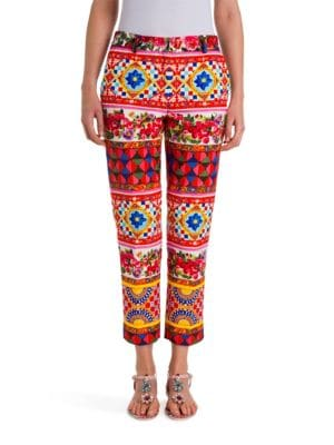 Printed Stretch Wool & Silk Pants