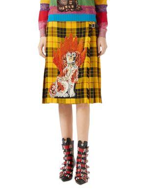 Embroidered Tartan Wool Skirt
