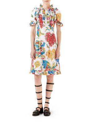 Corsage Print Cotton Dress