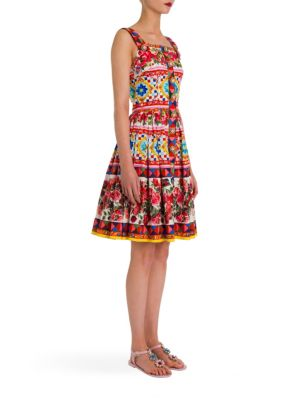 Sleeveless Printed Poplin Button-Front Apron Dress