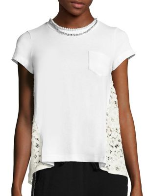 Pearl Lace-Back Pocket Tee