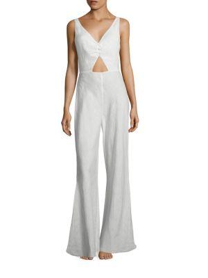 Cut-Out Linen Jumpsuit