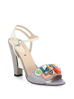 a6273e7482d Fendi Fantasia Studded Leather Ankle-Strap Sandals