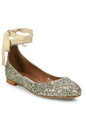 Daria Glitter Ankle-Wrap Ballet Flats
