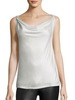 Metallic Cowlneck Tank Top