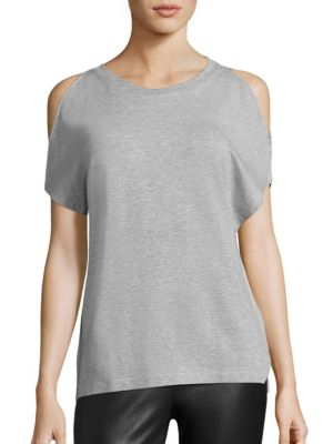 Soft Touch French Terry Cold-Shoulder Tee