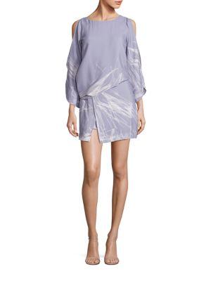 Draped Cold-Shoulder Shift Dress