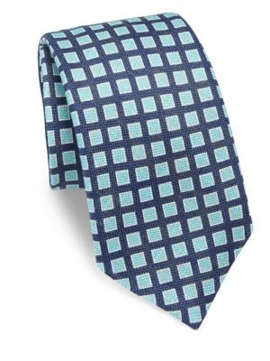 Square Patterned Silk Tie