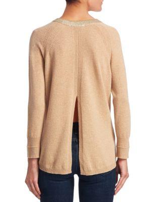 Merino Wool & Cashmere Metallic Trim Sweater