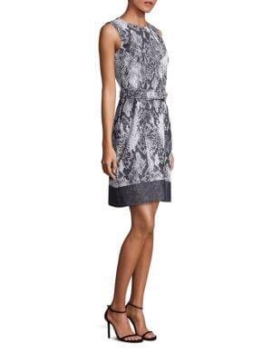 Daneki Snakeskin Jacquard A-line Dress by BOSS