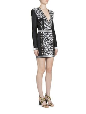 Long-Sleeve Animal Jacquard Dress