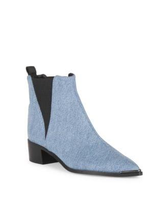 Jensen Metal-Tip Denim Ankle Boots