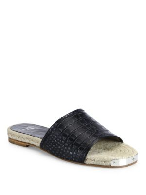 Nero Croc Printed Leather Espadrille Slide Sandals