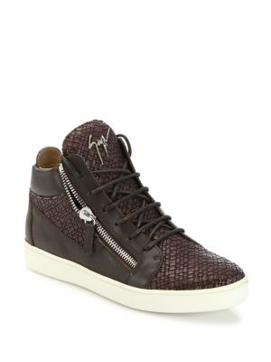 Woven Leather Mid-Top Sneakers