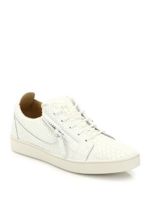 Nero Snake & Croc-Embossed Leather Sneakers