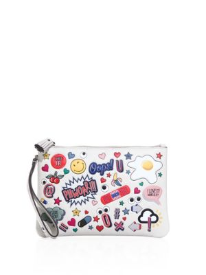 All Over Stickers Leather Pouch