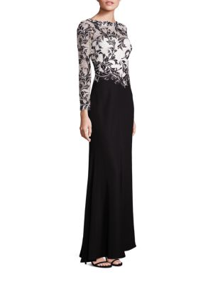 Long Sleeve Lace Bodice Gown