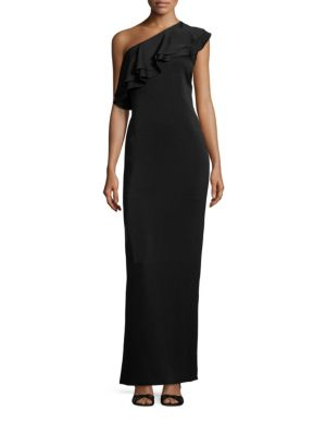 MIDNIGHT One-Shoulder Ruffle Gown