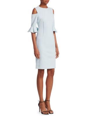 TERI JON BY RICKIE FREEMAN Cold-Shoulder Bell-Sleeve Dress